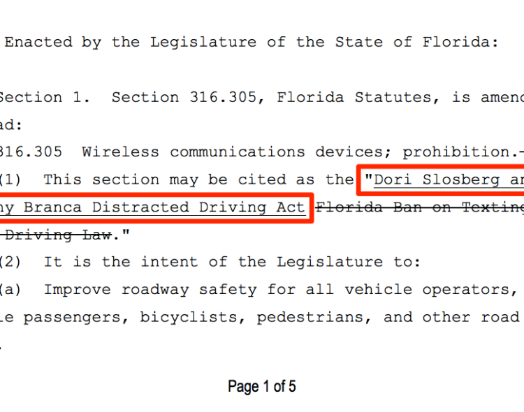 Dori Slosberg and Anthony Branca Distracted Driving Act